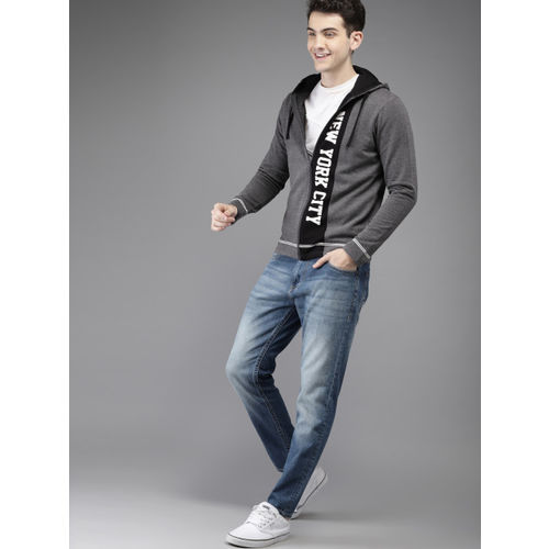 HERE&NOW Men Charcoal Grey & Black Solid Hooded Sweatshirt