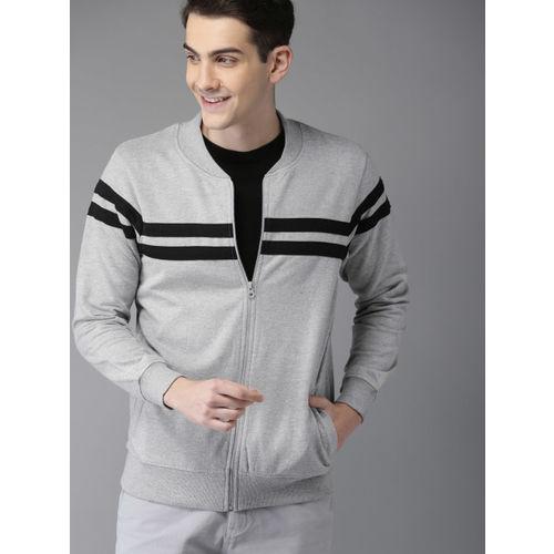 HERE&NOW Men Grey Melange Striped Sweatshirt