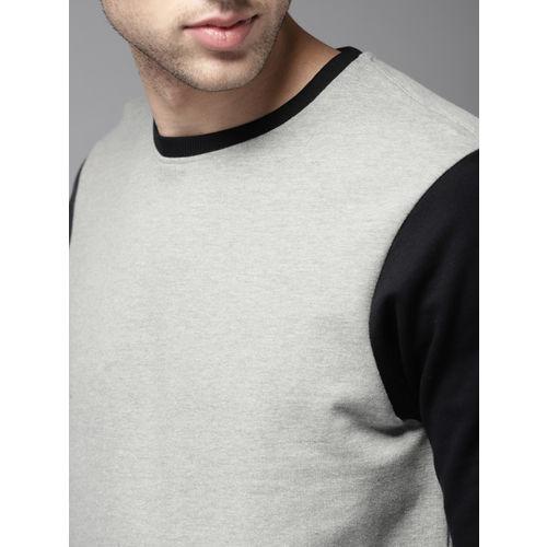 HERE&NOW Men Grey & Black Solid Sweatshirt