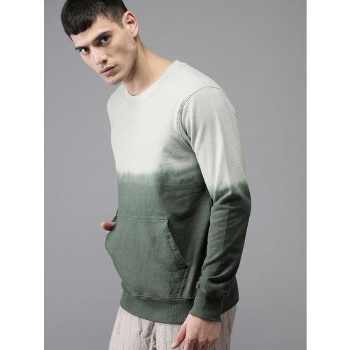 HERE&NOW Men Grey & Olive Green Solid Sweatshirt
