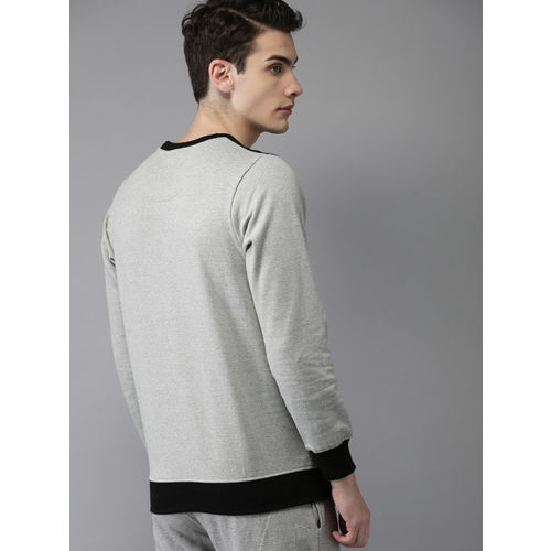 HERE&NOW Men Grey Melange Printed Sweatshirt