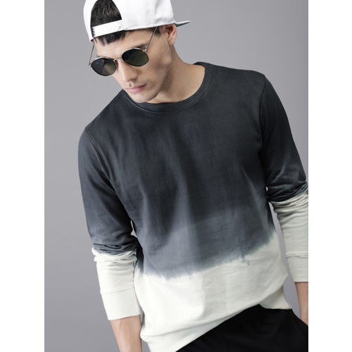 HERE&NOW Men Charcoal Grey & White Ombre-Dyed Sweatshirt