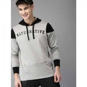 HERE&NOW Men Grey Melange Printed Hooded Sweatshirt