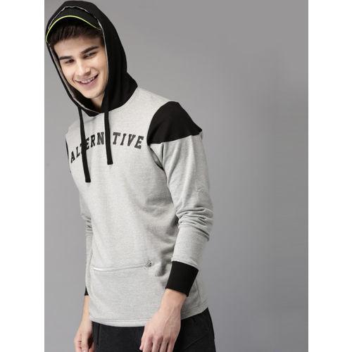 HERE&NOW Men Grey Melange Printed Hooded Sweatshirt
