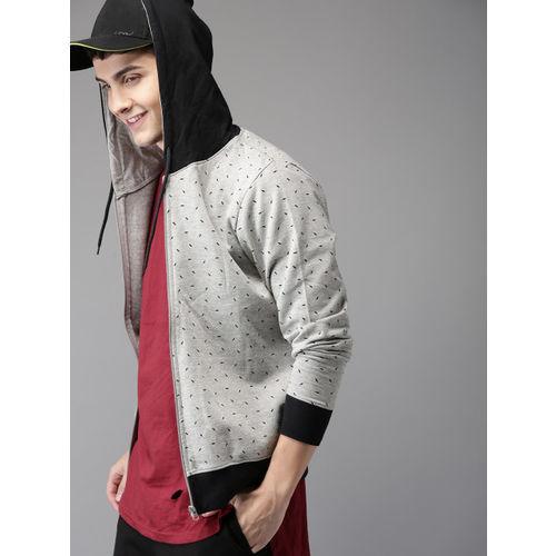 HERE&NOW Men Grey Printed Hooded Sweatshirt