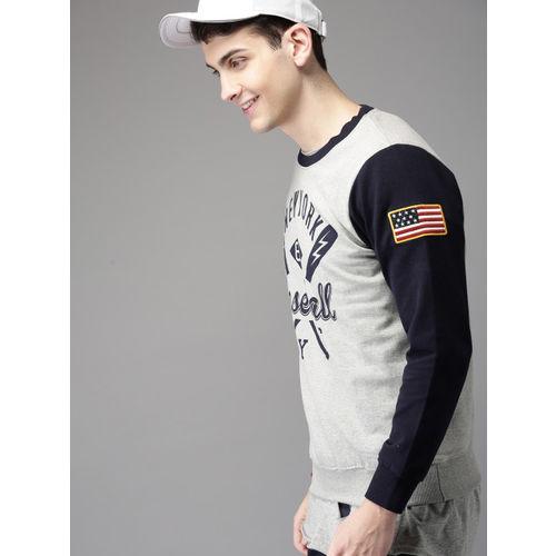 HERE&NOW Men Grey Printed Sweatshirt