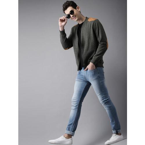 HERE&NOW Men Charcoal Grey Solid Sweatshirt
