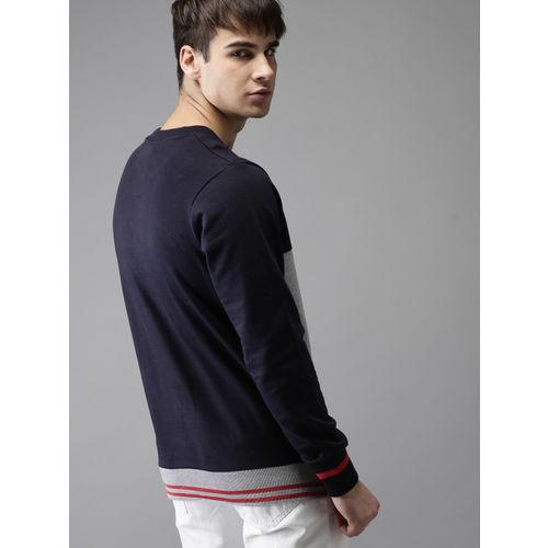 HERE&NOW Men Grey & Navy Blue Colourblocked Sweatshirt
