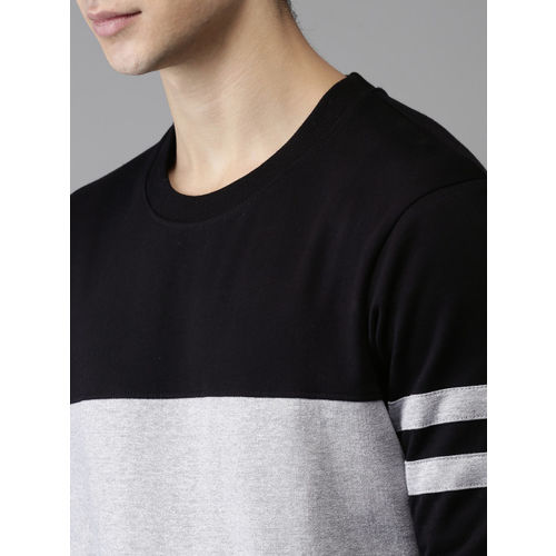HERE&NOW Men Grey & Black Colourblocked Sweatshirt