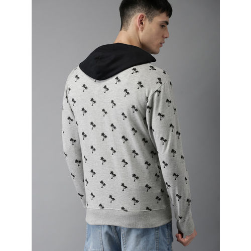 HERE&NOW Men Grey Tropical Printed Hooded Sweatshirt