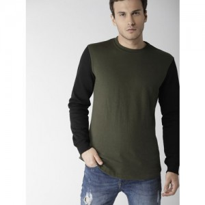 FOREVER 21 Men Olive Green & Black Solid Sweatshirt