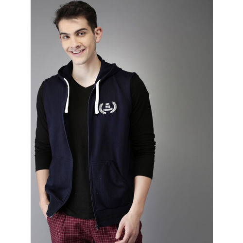 HERE&NOW Men Navy Blue Solid Sweatshirt