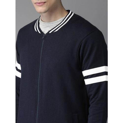 HERE&NOW Men Navy Blue Solid Sweatshirt
