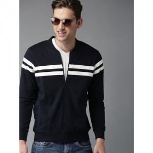 HERE&NOW Men Navy Blue & White Striped Sweatshirt