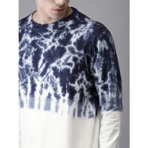 HERE&NOW Men Navy Blue & White Printed Sweatshirt