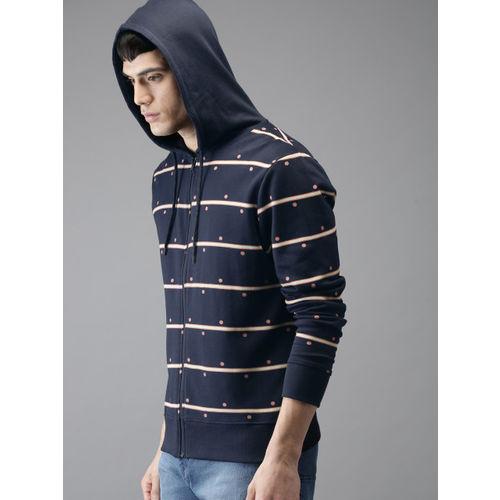 HERE&NOW Men Navy & Pink Striped Hooded Sweatshirt
