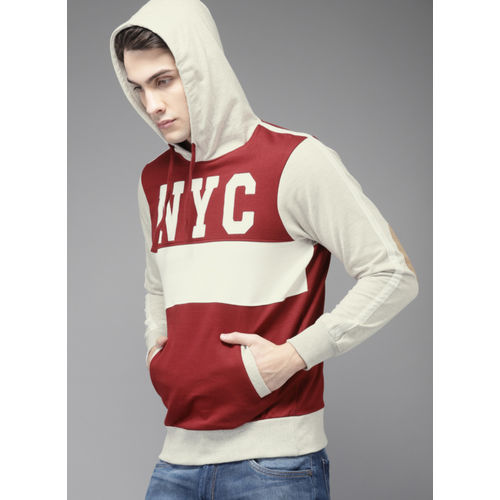 HERE&NOW Maroon Colourblocked Hooded Sweatshirt