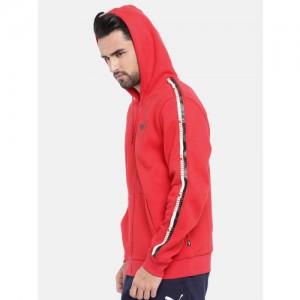 Puma Men Red ELEVATED ESS Tape FZ Hoody Sweatshirt