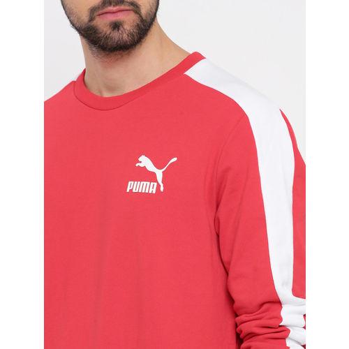 Puma Men Red Solid Classics T7 Logo Crew TR Sweatshirt