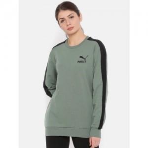 Puma Women Green & Black Solid Sweatshirt