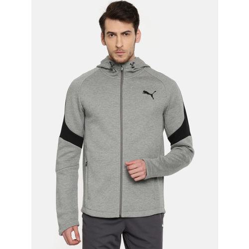 Puma PUMA MEN Grey Melange Evostripe Move FZ Hoody Sweatshirt