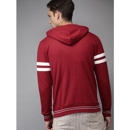 HERE&NOW Men Red & White Printed Hooded Sweatshirt