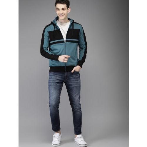 HERE&NOW Men Teal Blue & Black Colourblocked Hooded Sweatshirt
