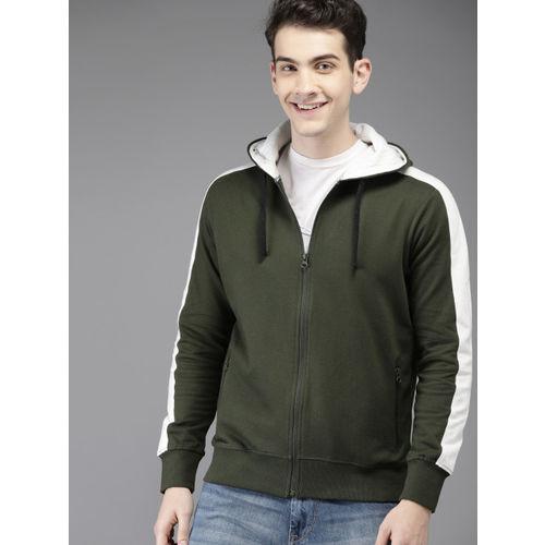 HERE&NOW Men Olive Green Solid Hooded Sweatshirt