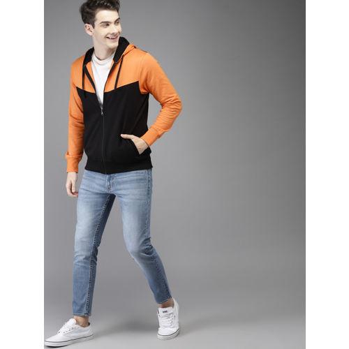 HERE&NOW Men Orange & Black Colourblocked Hooded Sweatshirt
