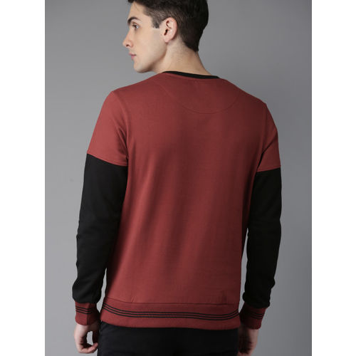 HERE&NOW Men Red & Black Colourblocked Sweatshirt