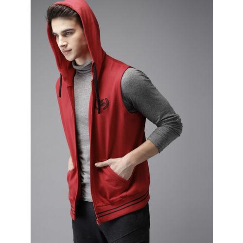 HERE&NOW Men Red Solid Hooded Sweatshirt