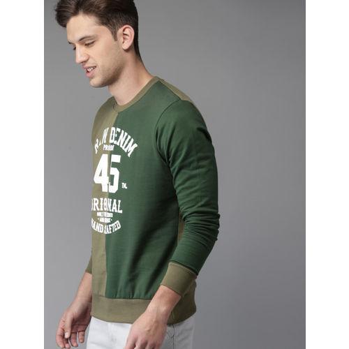 HERE&NOW Men Olive Green Printed Sweatshirt