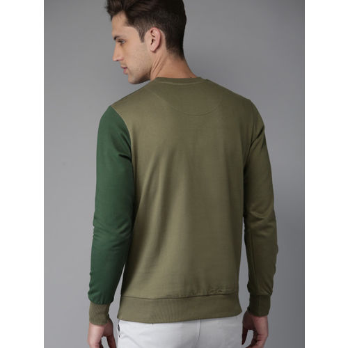HERE&NOW Men Olive Green Printed Sweatshirt