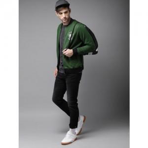 HERE&NOW Men Green Solid Sweatshirt