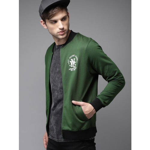 HERE&NOW Men Green Solid Sweatshirt
