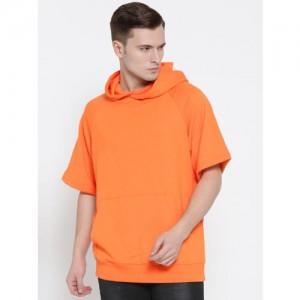 FOREVER 21 Men Orange Solid Hooded Sweatshirt