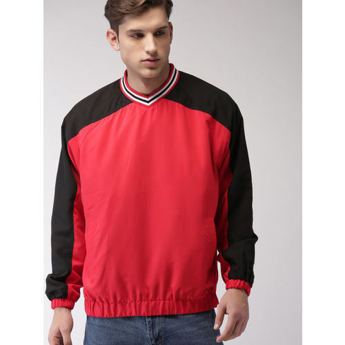 FOREVER 21 Red & Black Colourblocked Sweatshirt