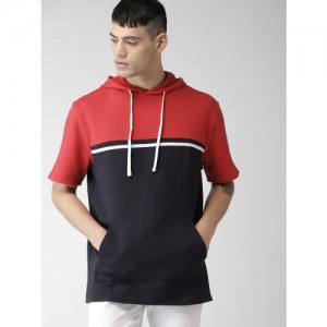 FOREVER 21 Men Navy Blue & Red Colourblocked Hooded Sweatshirt
