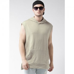 FOREVER 21 Men Taupe Solid Hooded Sweatshirt