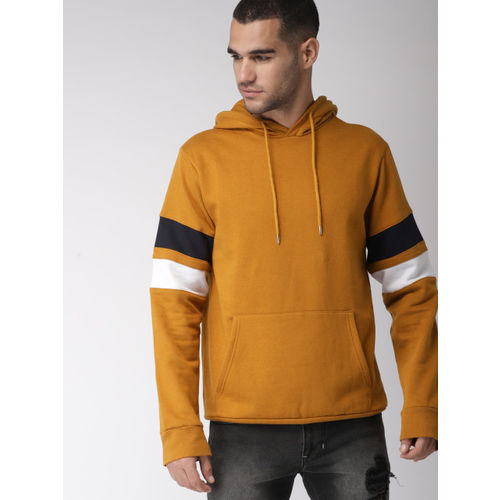 FOREVER 21 Men Mustard Solid Hooded Sweatshirt