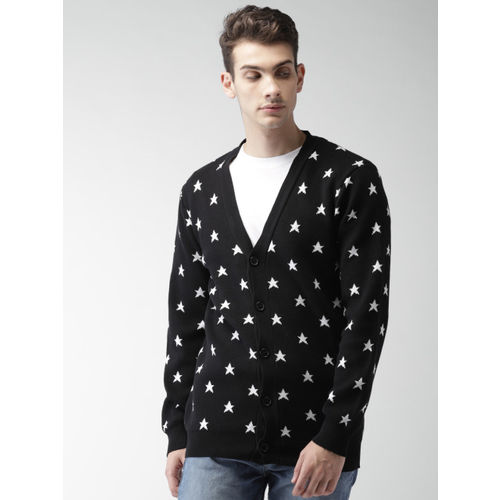 FOREVER 21 Men Black & White Self Design Cardigan