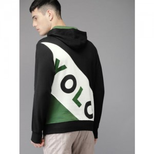 Moda Rapido Men Black & White Back Printed Hooded Sweatshirt
