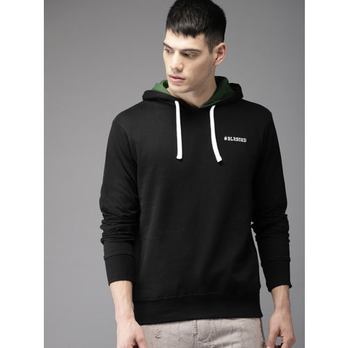 Moda Rapido Men Black & White Back Printed Hooded Sweatshirt