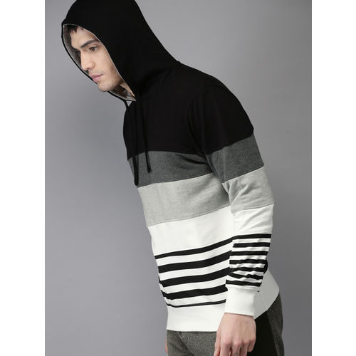 Moda Rapido Men Black & White Striped Hooded Sweatshirt