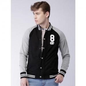 Moda Rapido Black & Grey Melange Varsity Sweatshirt