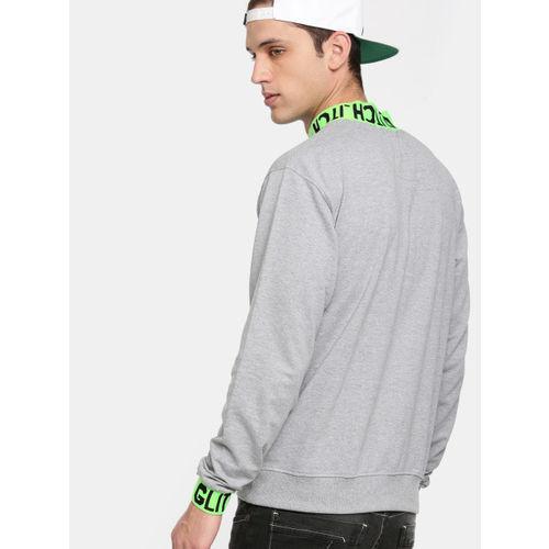 Kook N Keech Men Grey Melange Solid Hooded Sweatshirt