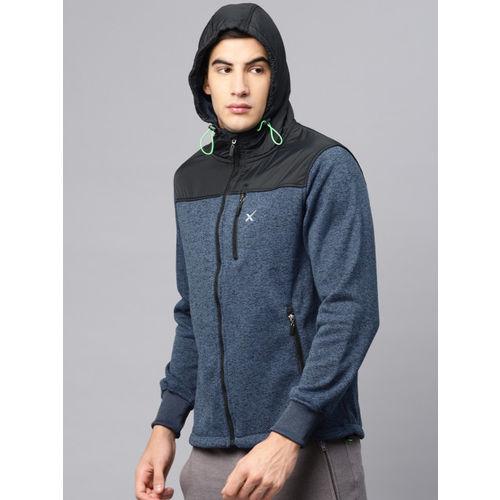 HRX by Hrithik Roshan Blue Solid Hooded Sweatshirt