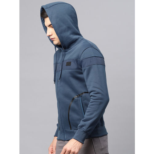 HRX by Hrithik Roshan Blue Solid Hooded Sweatshirt