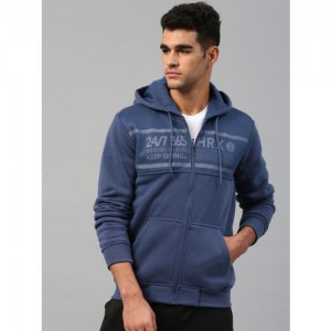 HRX by Hrithik Roshan Blue Printed Hooded Sweatshirt