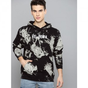 Kook N Keech Men Black & Grey Printed Hooded Sweatshirt